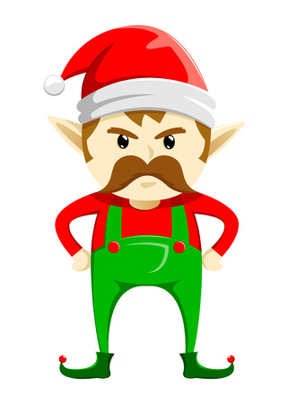 Angry Christmas Elf with mustache, vector illustration