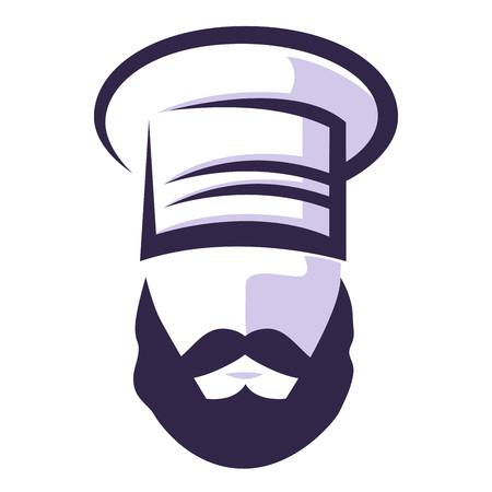 Chef with mustache and beard vector silhouette icon Stock Illustratie