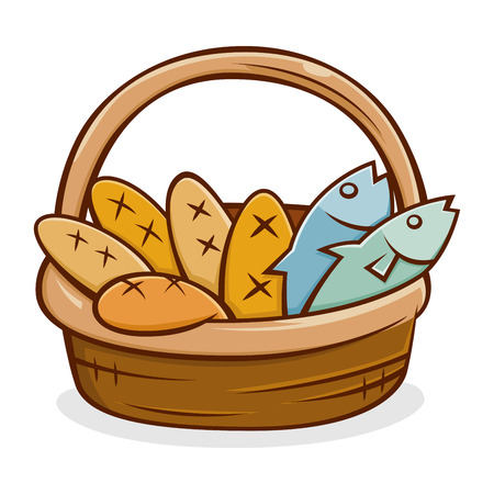 Five bread and two fish in a basket, vector illustration