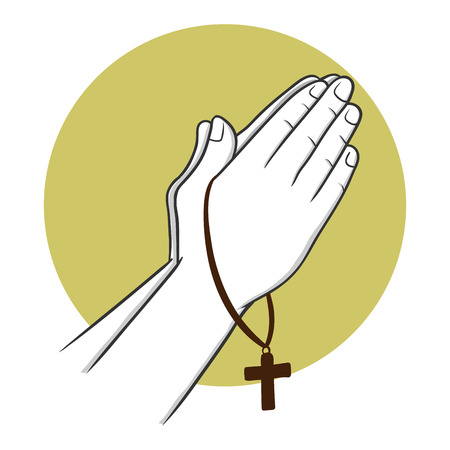 hoping: Two hand praying holding cross, vector illustration