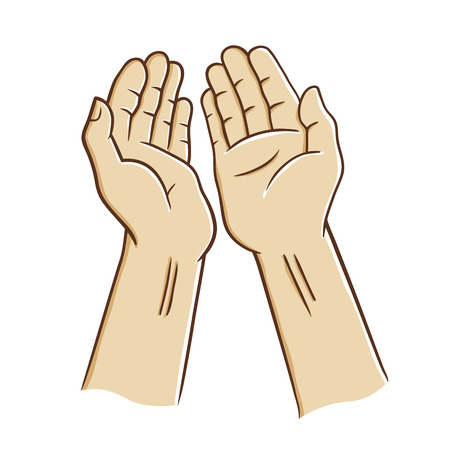 Two open palm praying, vector illustration Çizim