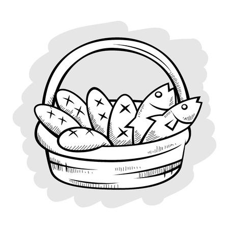 Vijf brood en twee vissen in een mand, vectorillustratie