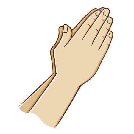 Twee hand sluiten en bidden, vector illustratie