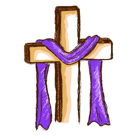 Hand tekening van een houten kruis met paarse doek