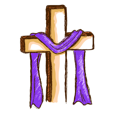 Hand drawing of a wooden cross with purple cloth
