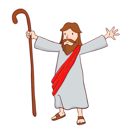 character illustration: Jesus Christ The Shepherd With Open Arms, Vector Illustration Illustration