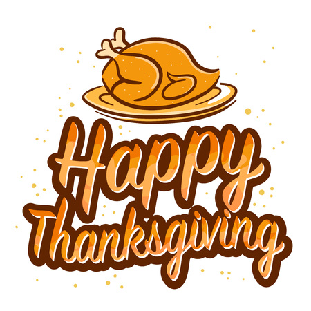 cuerno de la abundancia: Feliz Acci�n de Gracias Saludos tipograf�a, ilustraci�n vectorial