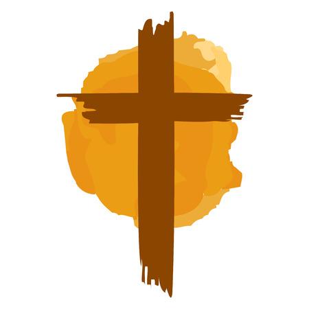 cristianismo: Marr�n color cristianismo cruz, ilustraci�n vectorial