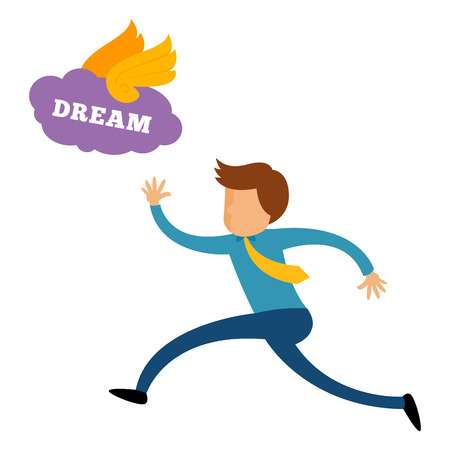 trying: Businessman running trying to catch his dream, vector cartoon Illustration