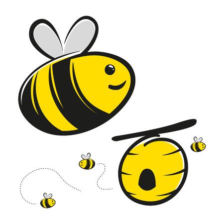 Cute honingbij en bijenkorf vector cartoon Stock Illustratie