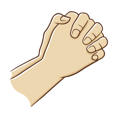 sincere: Two Hand Closed Tightly Praying, Vector Illustration Illustration