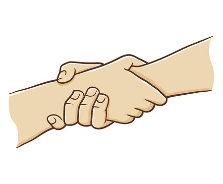 Twee Hand Die Elkaar Met sterke greep, vectorillustratie
