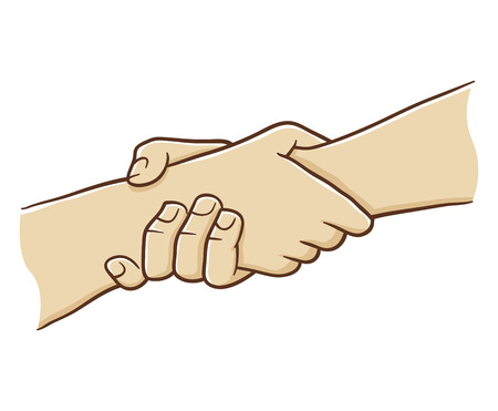 hand grip: Two Hand Holding Each Other With Strong Grip, vector illustration
