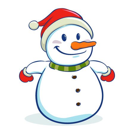 cartoon carrot: Happy snowman character wearing santa hat Illustration