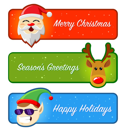 happy holidays: Happy Holidays And Merry Christmas Banners