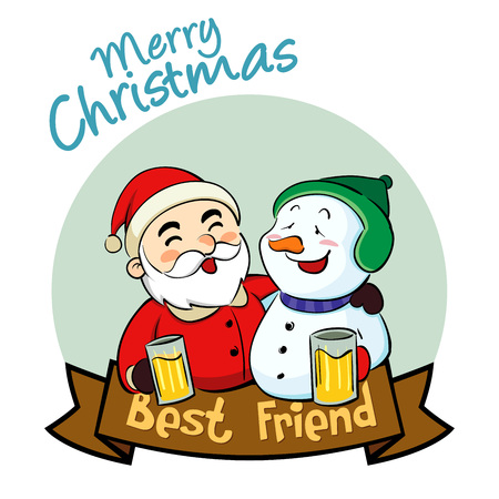 cartoon party: Santa Claus and Snowman best friend in christmas Illustration