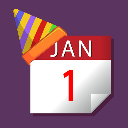 january 1st: New year on January first calendar
