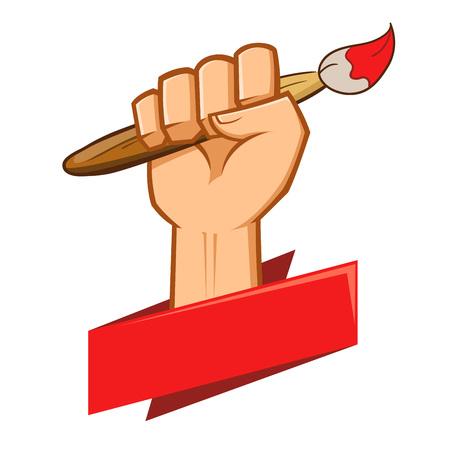 grasp: Hand holding a paint brush symbol Illustration