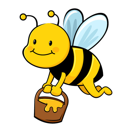 Honey bee carry a bucket full of honey Stock Vector - 48174292