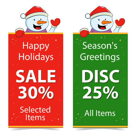 discount banner: Holiday Discount And Sale Banner With Snowman
