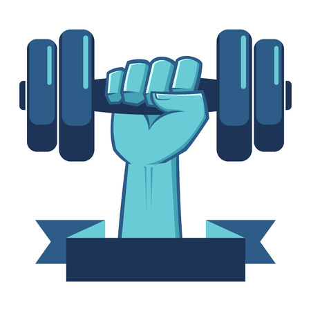 hand lifting weight: Strong Hand Lifting a Weight Fitness Symbol