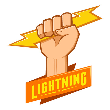 hand cartoon: Symbol of a hand holding a lightning