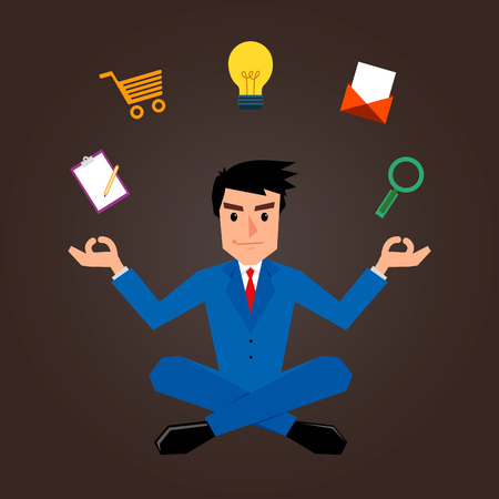 meditating: Businessman Meditating With Marketing Icons