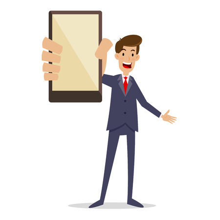 Happy businessman holding a smartphone