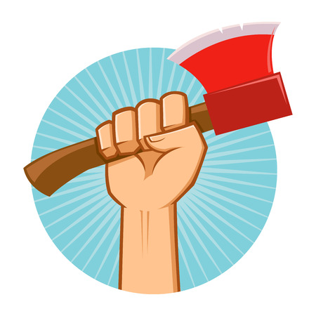 grasp: Symbol of a hand holding an axe Illustration