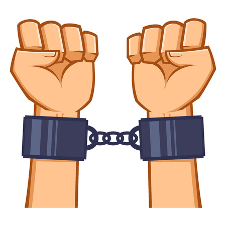 Captured hand chained in iron handcuff, vector illustration