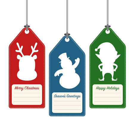 hang tag: Christmas and holidays hang tag label, vector illustration Illustration