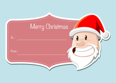santa claus face: Christmas label with Santa Claus face, vector illustration