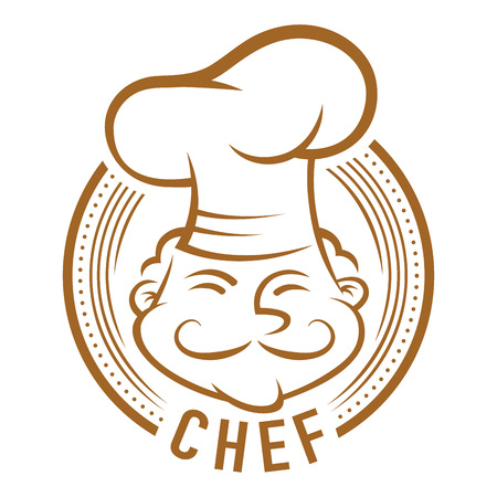smiling man: Chef with mustache symbol, line art vector cartoon