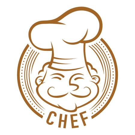 hombre con sombrero: Cocinero con s�mbolo bigote, arte lineal de vectores de dibujos animados