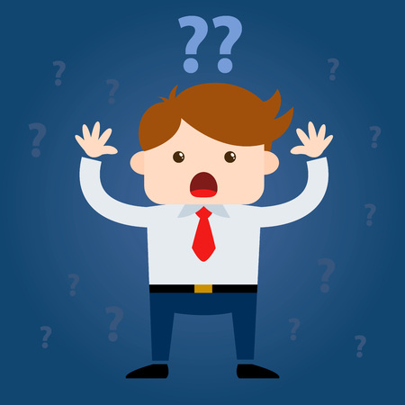 fear: Businessman Surrounded By Question Marks, vector Cartoon