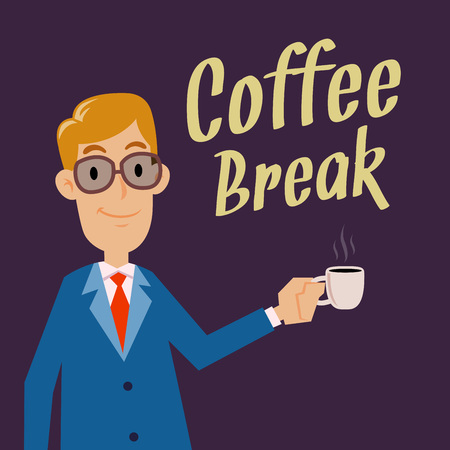 sip: Businessman holding a cup for a coffee break, vector cartoon Illustration