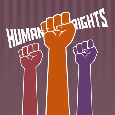 derechos humanos: Mano que sostiene la tipografía de los derechos humanos Vectores