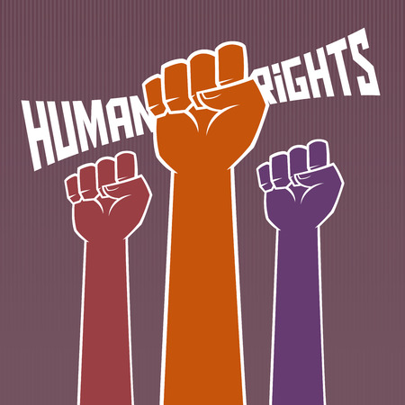 Hand holding for human rights typography Illustration