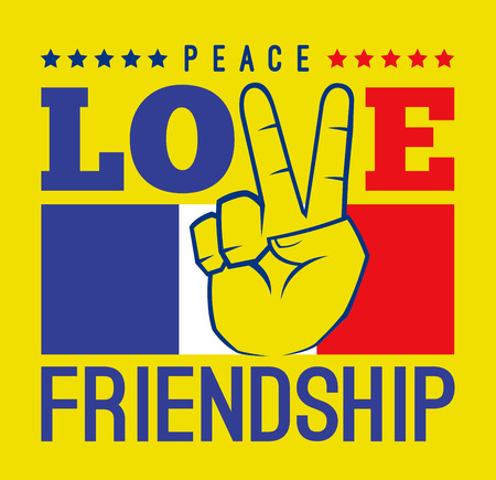 anti war: Peace love and friendship with France flag