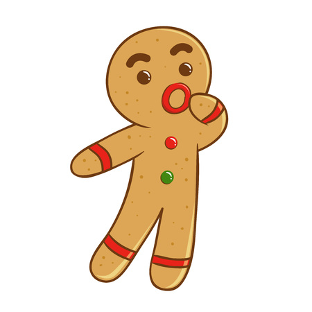 ginger bread man: Ginger bread man feeling confused, vector illustration