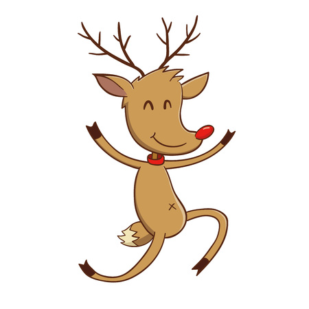red nosed: Happy reindeer jumping with joy, vector illustration
