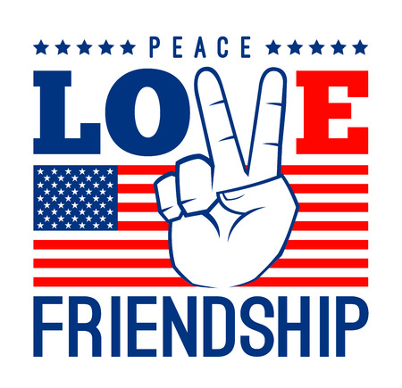 anti war: Peace love and friendship with American flag, vector illustration