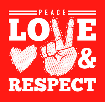 Peace love and respect with hand sign, vector illustration
