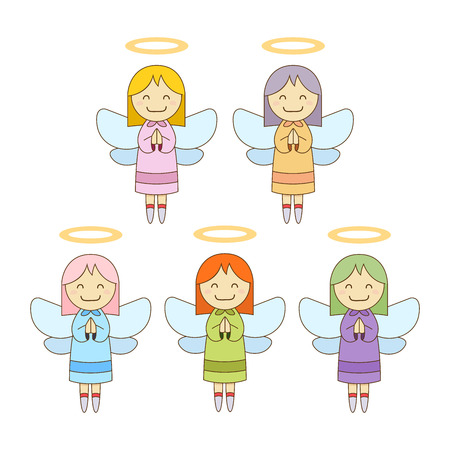 compilation: Cute little angels in colorful robe, vector illustration Illustration