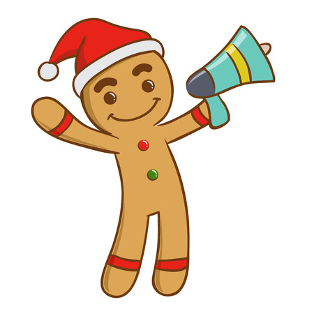 ginger bread man: Ginger bread man holding a loud speaker, vector illustration