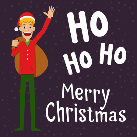 outfit: Man holding a brown bag in christmas outfit, vector illustration