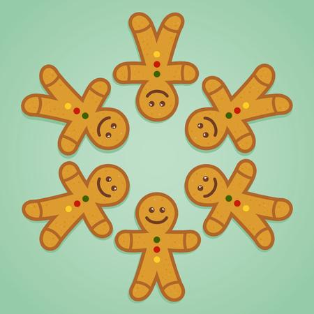 Ginger bread man holding hands in circle, vector illustration 일러스트