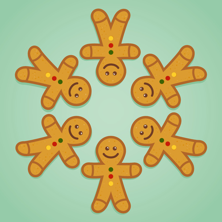 ginger bread man: Ginger bread man holding hands in circle, vector illustration Illustration