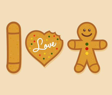 ginger bread man: I love ginger bread man symbol, vector illustration