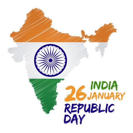 republic: India republic day with flag and map vector illustration
